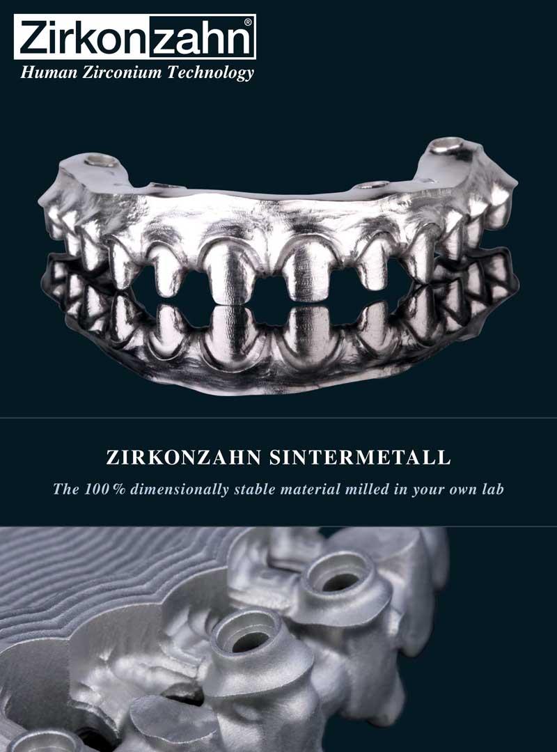 Zirkon Zahn Sintermetal Framework